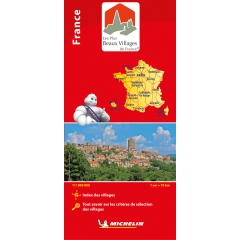 Carte routière MICHELIN Les Plus Beaux Villages de France - Carte routière positionnant l'ensemble des villages classés parmi Les Plus Beaux Villages de France sur le fond de carte officiel France produit par MICHELIN.