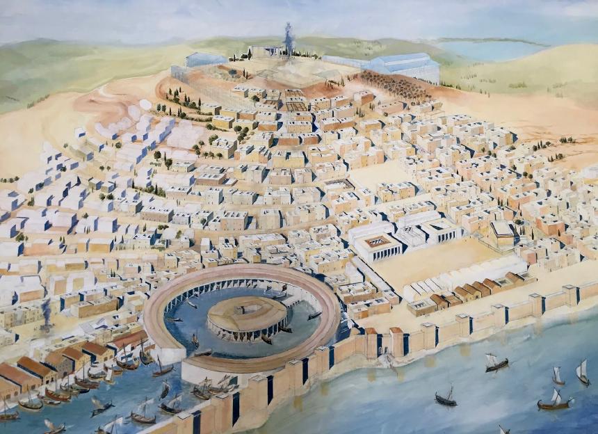 Dessin de l'ancienne Carthage en Tunisie